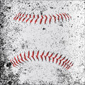 Grunge baseball stitches red beneath a layer Royalty Free Stock Photos