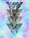 Grunge black shapes of triangles with gold triangle on unicorn