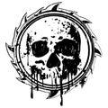 Grunge black and white sign to skull
