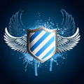 Grunge blue shield emblem Stock Image