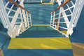 Grunge blue stairs on a catamaran ship Royalty Free Stock Photography