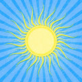 Grunge Blue Striped Card with Sun Royalty Free Stock Photo