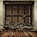 Grunge boarded up window and wooden floor Royalty Free Stock Photo