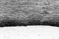 Grunge brick wall and snow. Royalty Free Stock Photo