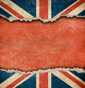 Grunge british flag on ripped paper with big copyspace empty space Royalty Free Stock Image