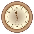 Grunge brown clock on a white background vector illustration Royalty Free Stock Photography