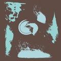 Grunge brushes blue vector design on brown background   illustration colorful shape decoration Royalty Free Stock Photo