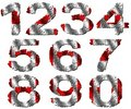 Grunge Canadian flag numbers Stock Photo