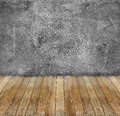 Grunge cement wall and yellow wooden floor abandoned aged Royalty Free Stock Photos