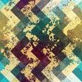 Grunge Chevron Pattern On Blue...