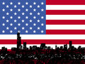 Grunge Chicago skyline with American flag Royalty Free Stock Photo