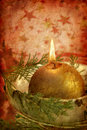 Grunge christmas candle Stock Photo