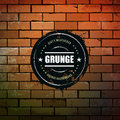 Grunge circle banner on brick wall dirty background vector illustration Royalty Free Stock Photo