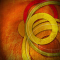 Grunge circles background warm colors with and geometric shapes of Stock Image