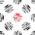 Grunge circles vector seamless pattern. Drawn background with black and red circles. Geometric abstract texture. Texture Royalty Free Stock Photo