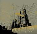 Grunge city background Stock Photo