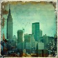 Grunge city skyline with borders Royalty Free Stock Photo