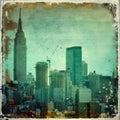 Grunge city skyline with borders Royalty Free Stock Photo