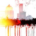Grunge city skyline with fire and flames effect. Royalty Free Stock Photo