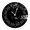 Grunge clock a clockfac in black white and red with a texture Royalty Free Stock Photos