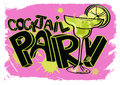 Grunge cocktail party poster colorful with hand lettering and margarita glass Royalty Free Stock Image