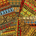 Grunge collage of sample with ethnic motifs Stock Image