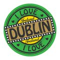 Grunge color stamp with text I Love Dublin inside