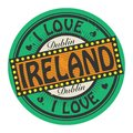 Grunge color stamp with text I Love Ireland inside