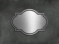 Grunge concrete and metal background with a chrome plate Stock Image