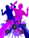 Grunge dancers without background people dancing in the with a foreground of speakers and designs a vector image that will blow up Stock Photo