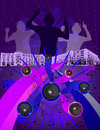 Grunge dancers people dancing in the background with a foreground of speakers and designs a vector image that will blow up to any Stock Photo