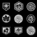 Grunge design element for organic natural logo Royalty Free Stock Images