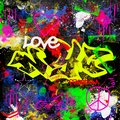 Grunge design new york city graffiti style multicolor paitn brush effect urban street artist background Royalty Free Stock Photo