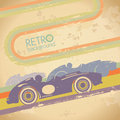 Grunge design with retro car. Royalty Free Stock Photo