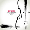 Grunge drawing cello with brushwork Royalty Free Stock Photo