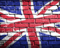 Grunge england flag on brick wall Stock Image