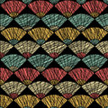 Grunge fan pattern. Based on Traditional Japanese Embroidery. Abstract Seamless pattern.