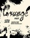 Grunge festival flyer design. Calligraphy flat brush. Grunge texture