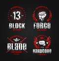 Grunge fighting prints martial arts badges vector illustration Stock Images