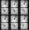 Grunge film countdown in dark color Stock Photos