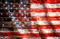 Grunge filtered,USA flag on brick. Royalty Free Stock Photo