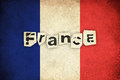 Grunge flag of france french country with text Stock Photo