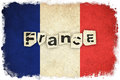 Grunge flag of france french country with text Royalty Free Stock Image