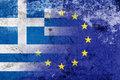 Grunge flag of greece and european union the economic crisis in greece Stock Photo