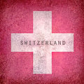 Grunge flag of switzerland white cross on white background Stock Photography