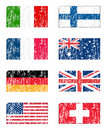 Grunge flags set Stock Image