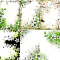 Grunge Floral Backgrounds Set Royalty Free Stock Photo