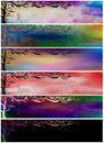 Grunge Floral Painted Banners or Headers Stock Photo