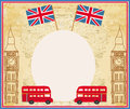 Grunge frame with icons of london illustration Royalty Free Stock Images
