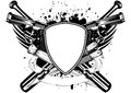 Grunge frame knifes bats and two pistols vector illustration Stock Images